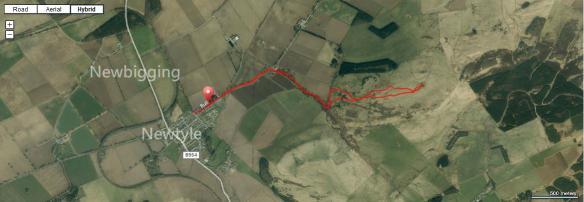 Route map from Newtyle to Kinpurney Tower