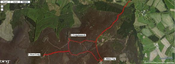 Aerial view of our route on Bennachie