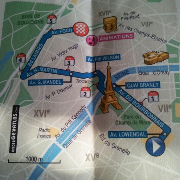 The route, printed on the back of the bibs.