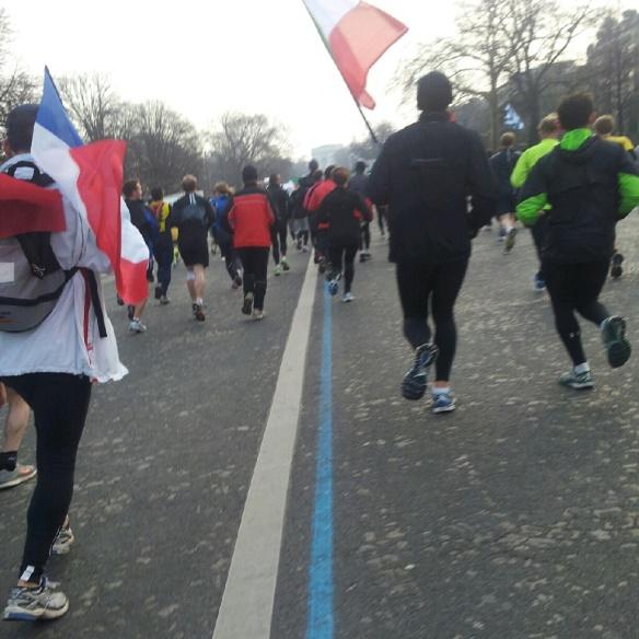 The blue line for the marathon.