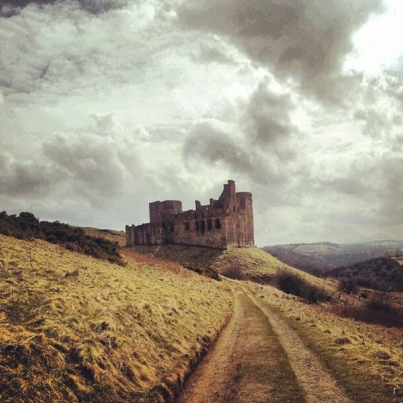 Approaching Crichton Castle