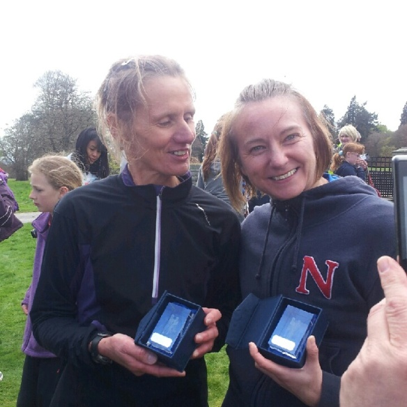Teri (right) and Carolyn (1st female SuperVet) with their awards.