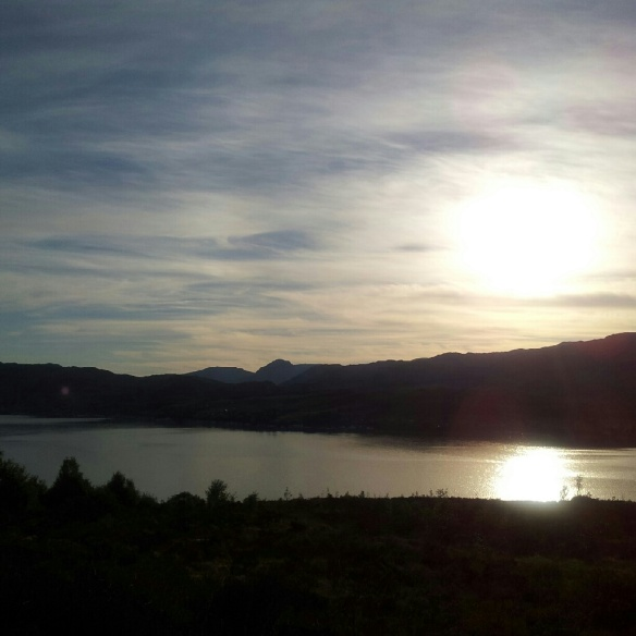 Setting sun over Loch Carron (at about 8pm)