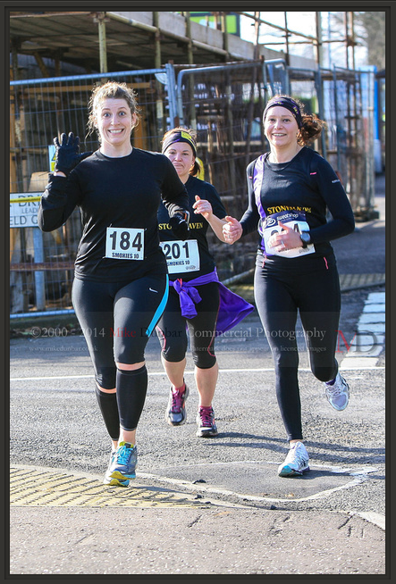 Me (looking demented), Kate, and Elaine - half a mile or so from the end.