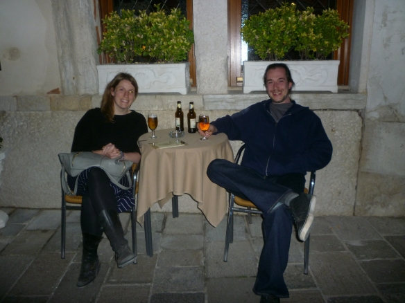 Drinks outside our hotel in Venice.