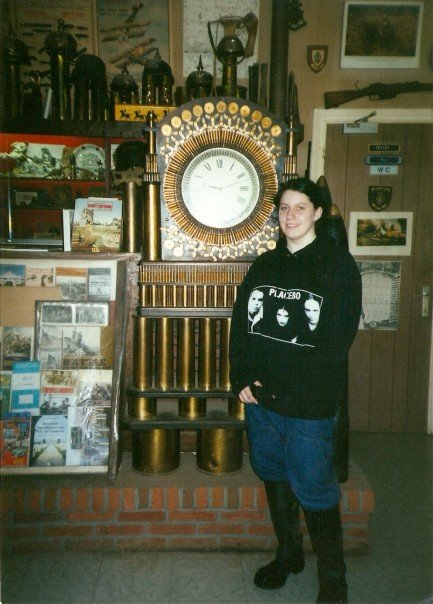 (Fat) teenage me, in Belgium on a school trip.  I rarely did not wear that sweater.