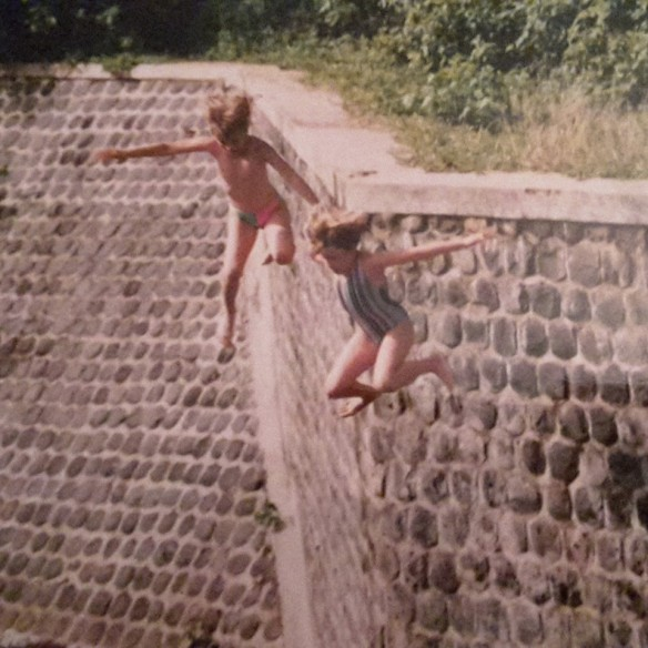 Me and my friend Jen jumping off a wall.  Somewhere in Indonesia.  Sometime in the 90s.